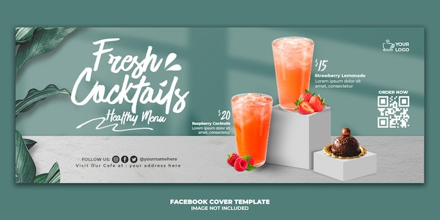 Modelo de banner de capa do facebook para menu de bebidas para promoção de restaurante