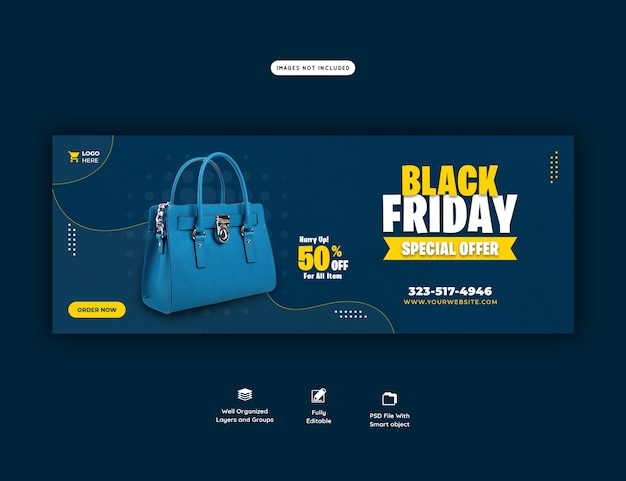 Modelo de banner de capa do facebook para oferta especial de black friday