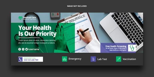 Modelo de banner de capa do facebook para saúde médica