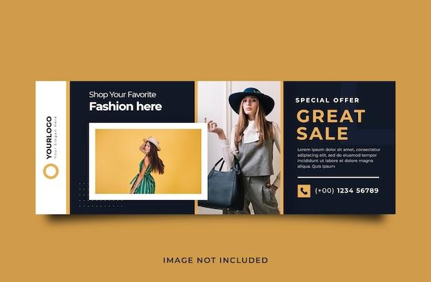 Modelo de banner de capa para venda de moda
