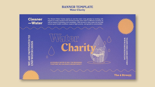 Modelo de banner de caridade de água