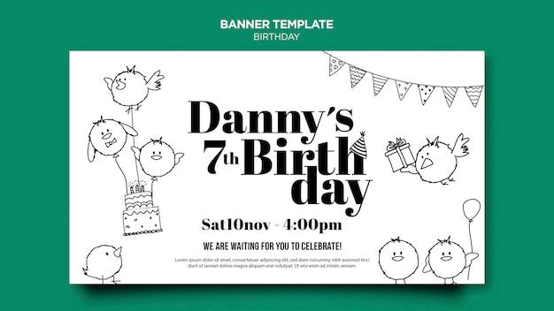 Modelo de banner de cartão de aniversário