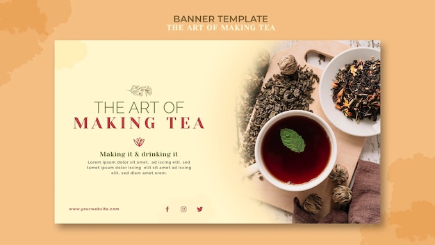Modelo de banner de casa de chá