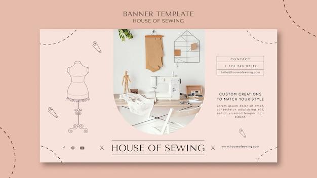 Modelo de banner de casa de costura
