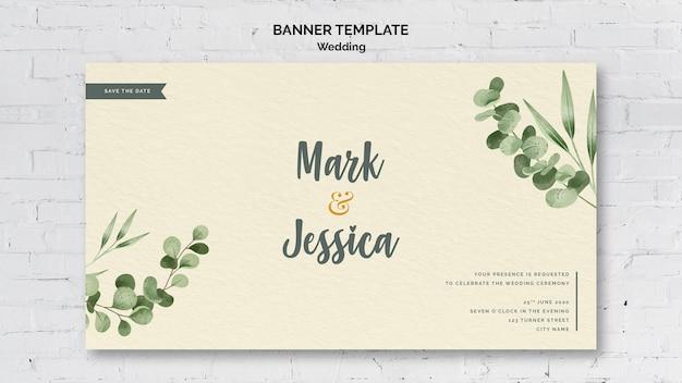 Modelo de banner de casamento decorativo