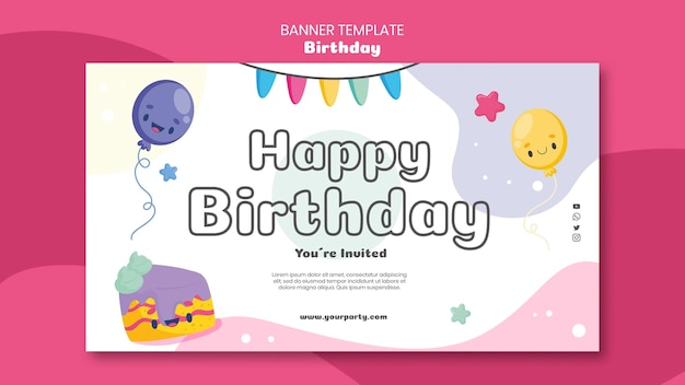 Modelo de banner de celebração de aniversário