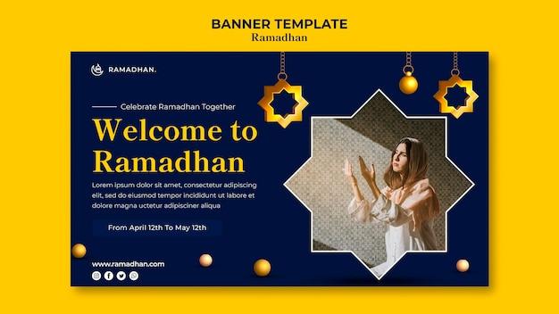 Modelo de banner de celebração do ramadã