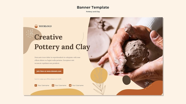 Modelo de banner de cerâmica e argila