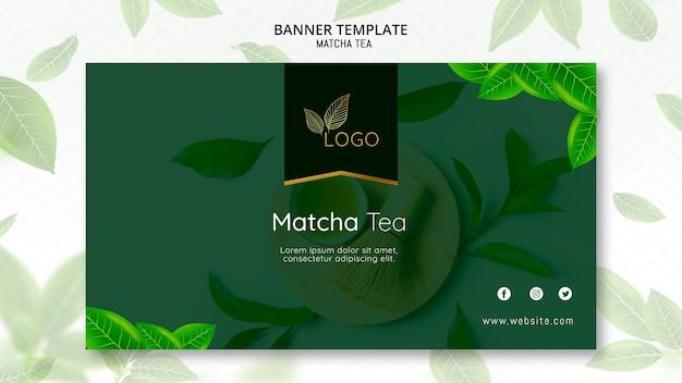 Modelo de banner de chá matcha com folhas