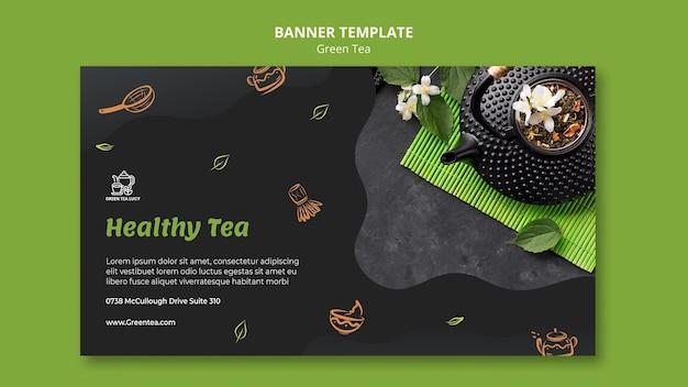 Modelo de banner de chá verde