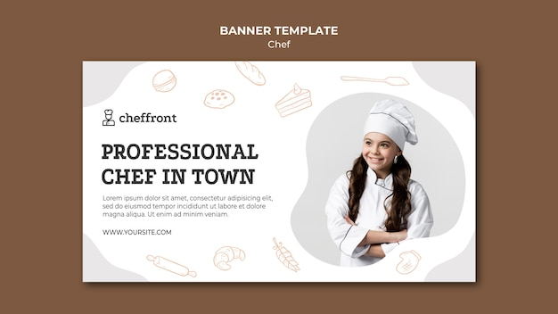 Modelo de banner de chef profissional