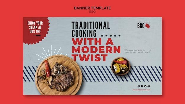 Modelo de banner de churrasco de cozinha tradicional
