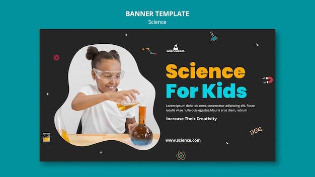 Modelo de banner de ciência para crianças
