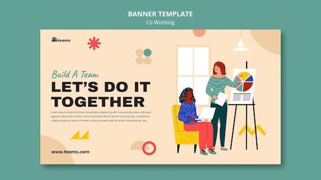 Modelo de banner de co-trabalho criativo