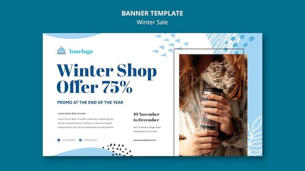 Modelo de banner de coleção de venda de inverno
