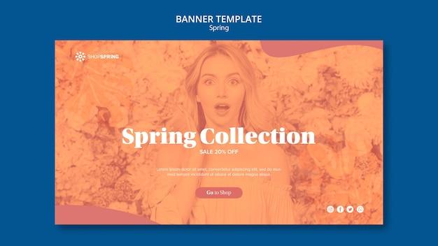 Modelo de banner de coleção de venda de primavera