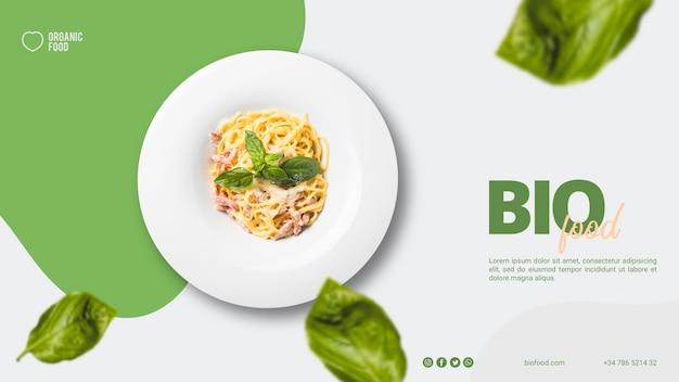 Modelo de banner de comida bio com foto