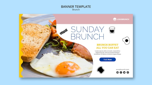 Modelo de banner de comida de brunch de domingo