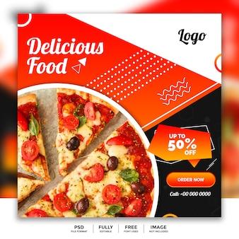Modelo de banner de comida de mídia social