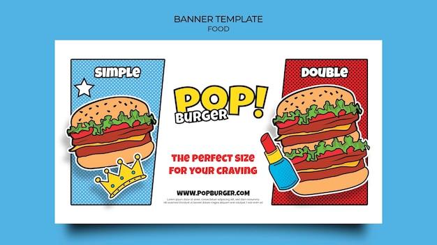 Modelo de banner de comida pop art