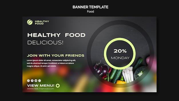 Modelo de banner de comida saborosa e saudável