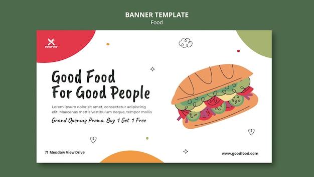 Modelo de banner de comida saborosa