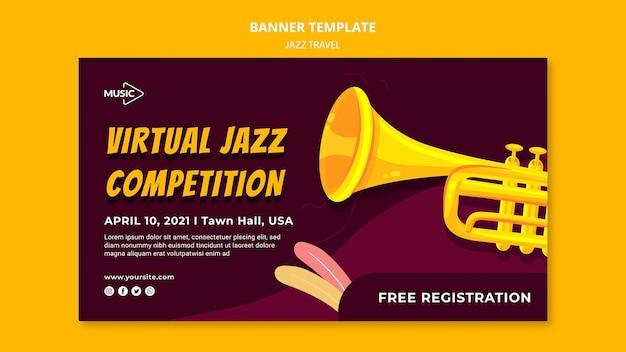 Modelo de banner de competição de jazz virtual