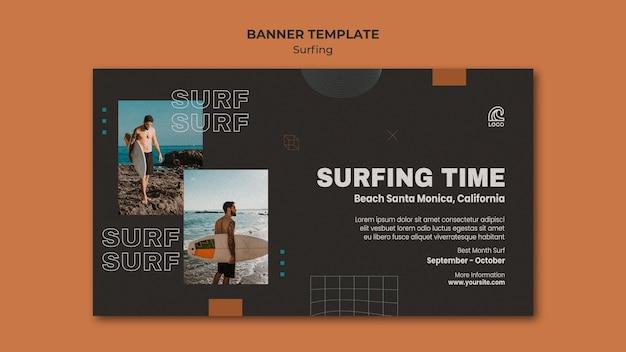 Modelo de banner de competição de surf