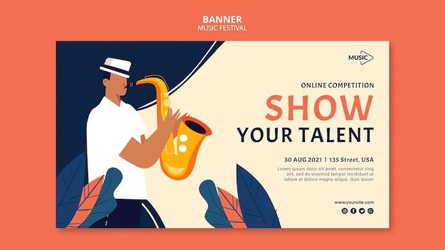 Modelo de banner de competição online de música