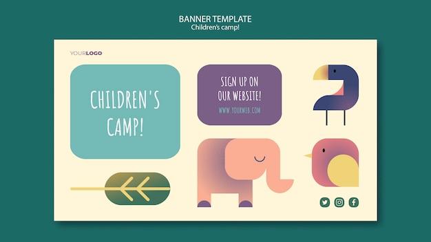 Modelo de banner de conceito de acampamento infantil