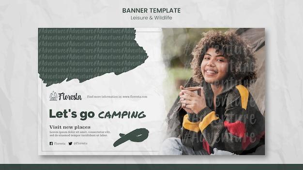 Modelo de banner de conceito de acampamento
