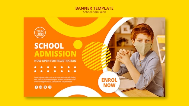 Modelo de banner de conceito de admissão escolar