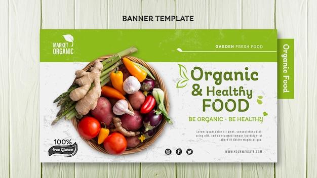 Modelo de banner de conceito de alimentos orgânicos
