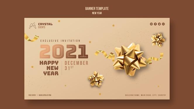 Modelo de banner de conceito de ano novo