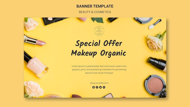 Modelo de banner de conceito de beleza e cosméticos