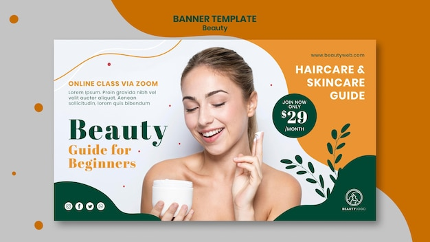 Modelo de banner de conceito de beleza