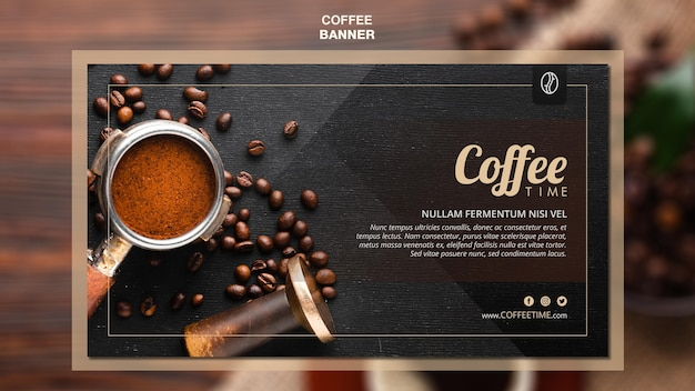 Modelo de banner de conceito de café