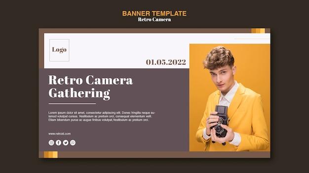 Modelo de banner de conceito de câmera retrô
