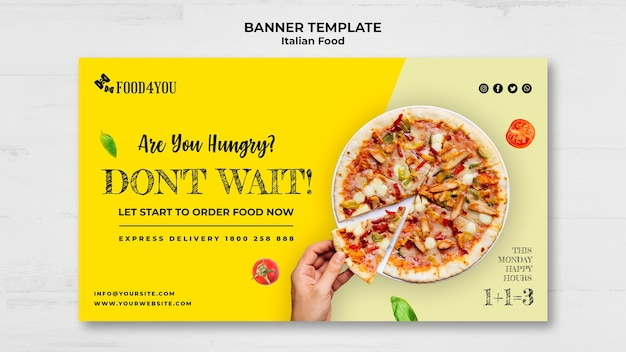 Modelo de banner de conceito de comida italiana Psd grátis