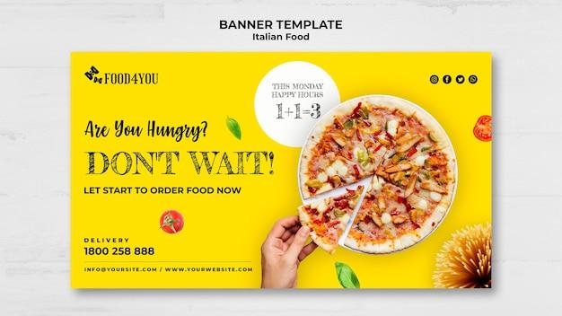Modelo de banner de conceito de comida italiana