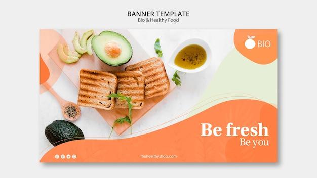 Modelo de banner de conceito de comida saudável e bio