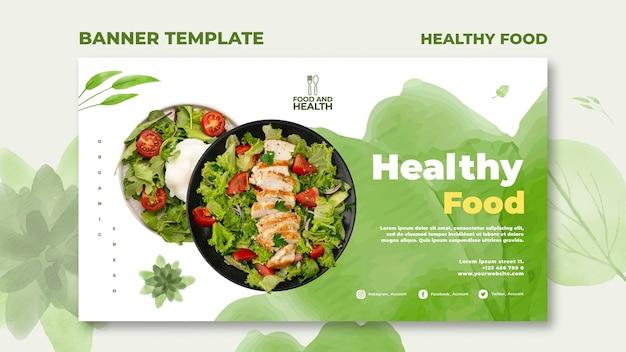 Modelo de banner de conceito de comida saudável
