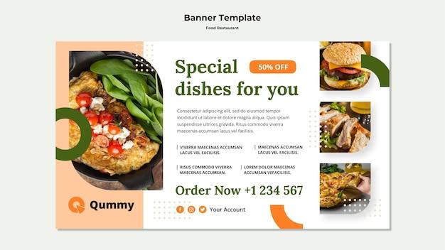 Modelo de banner de conceito de comida