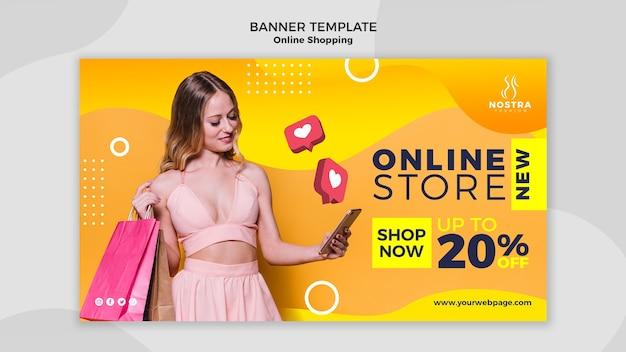 Modelo de banner de conceito de compras online