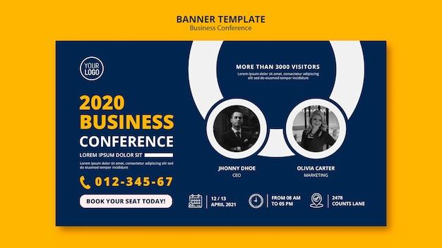 Modelo de banner de conceito de conferência de negócios