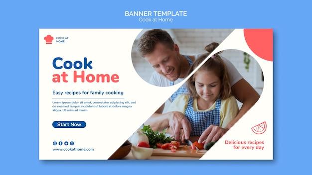 Modelo de banner de conceito de cozinhar em casa