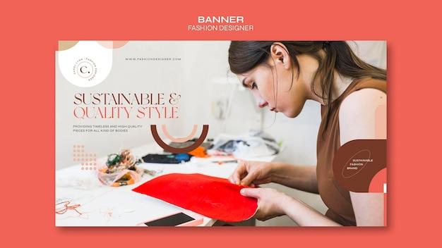 Modelo de banner de conceito de designer de moda