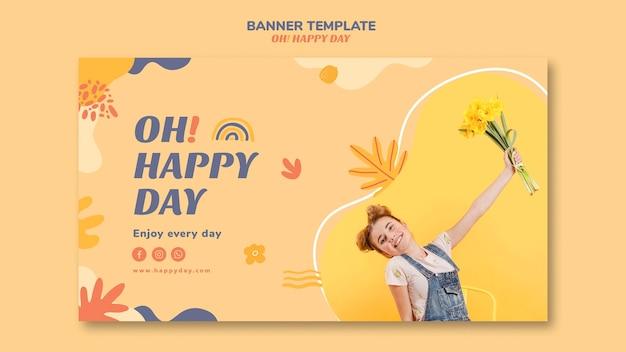 Modelo de banner de conceito de dia feliz