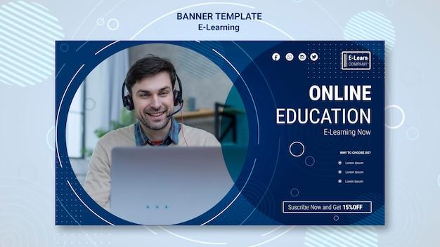 Modelo de banner de conceito de e-learning