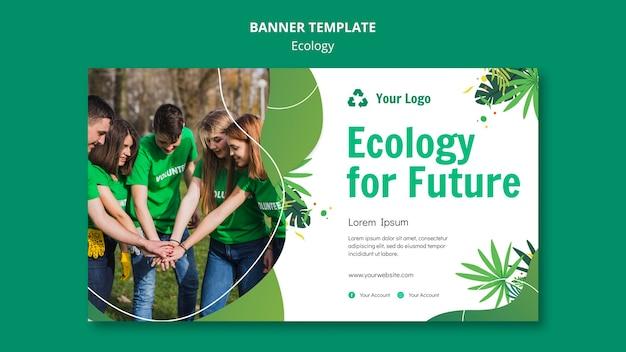 Modelo de banner de conceito de ecologia